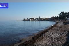 Mar en calma en la playa de la Almadrava de Els Poblets y de Dénia