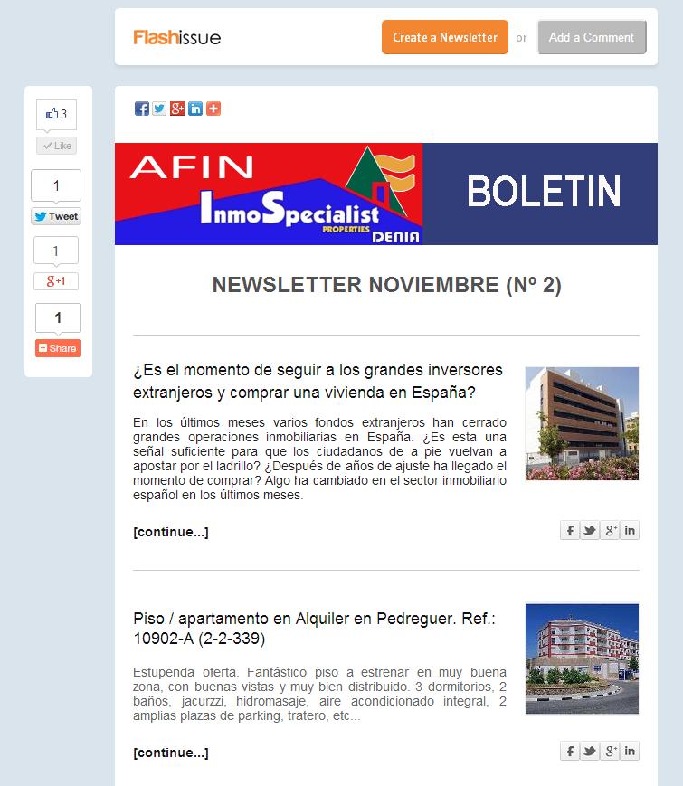 Afin - Inmospecialist - Boletín Inmobiliario - NOVIEMBRE Nº 2