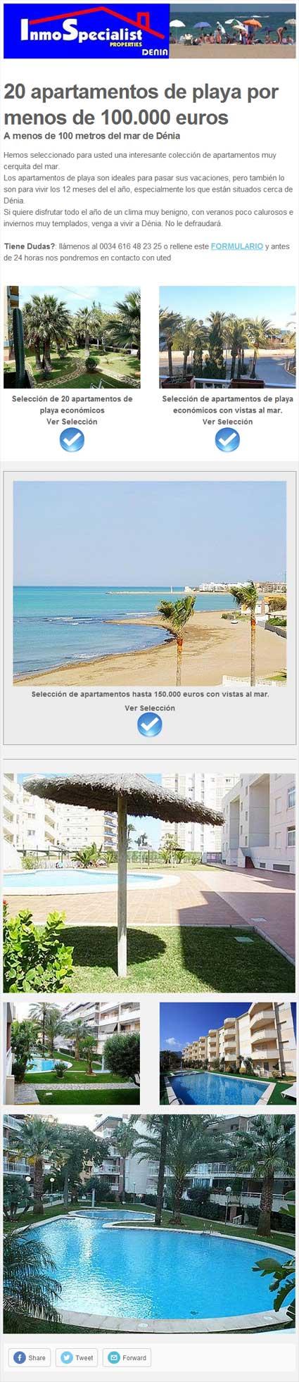20 apartamentos de playa por menos de 100.000 euros