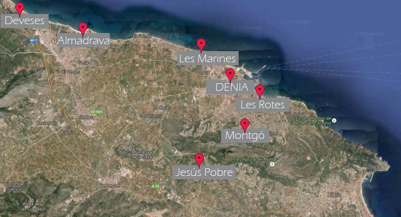 Mapa de zonas de Dénia